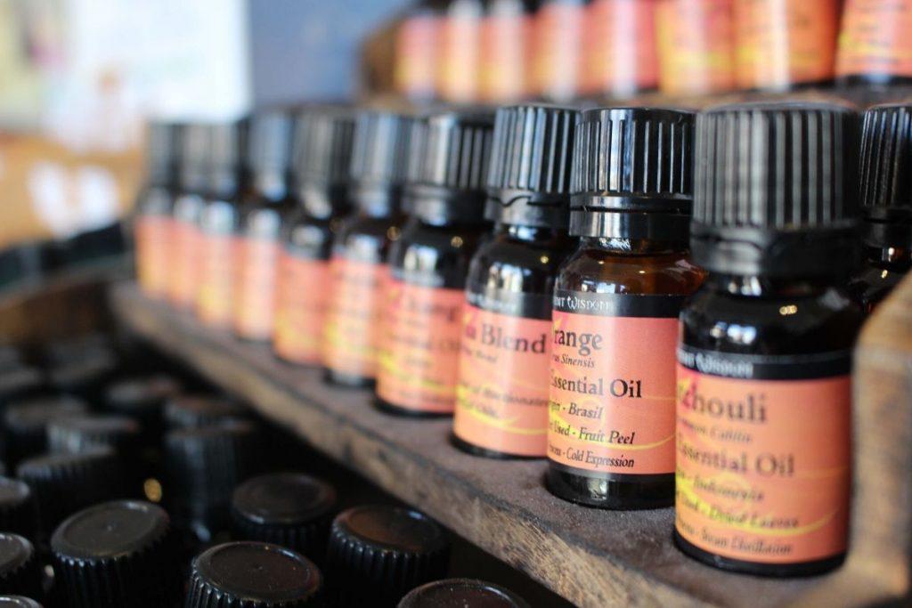 essential oils with orange label