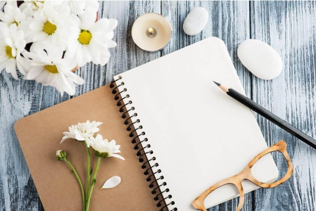 journal flowers glasses