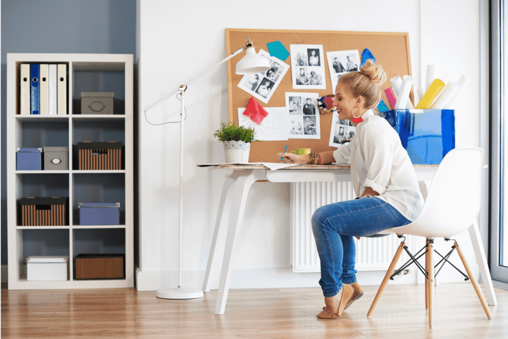 vision board with woman sitting at desk