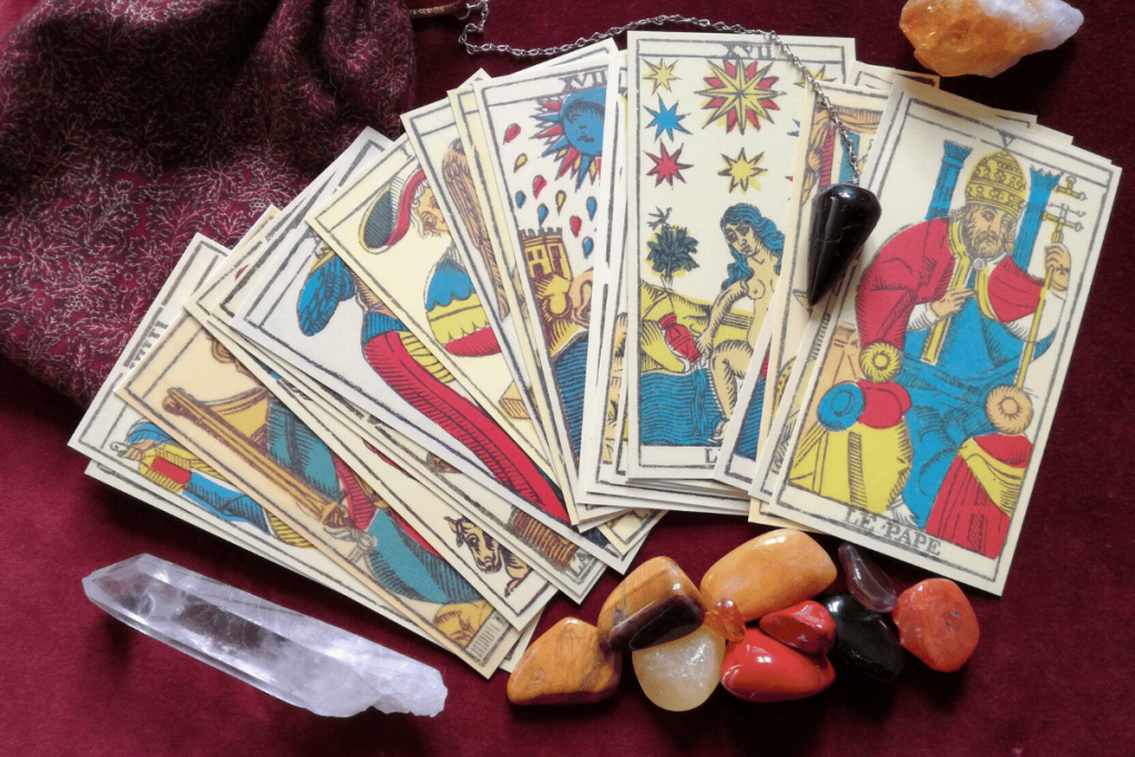 tarot cards with crystals