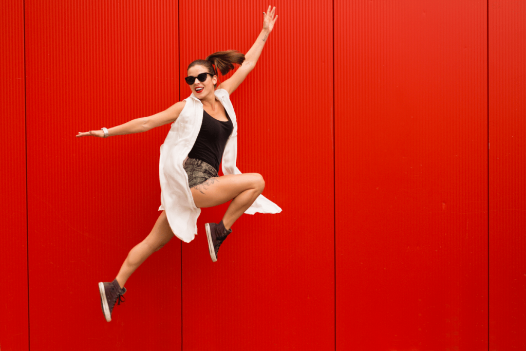 happy woman red background