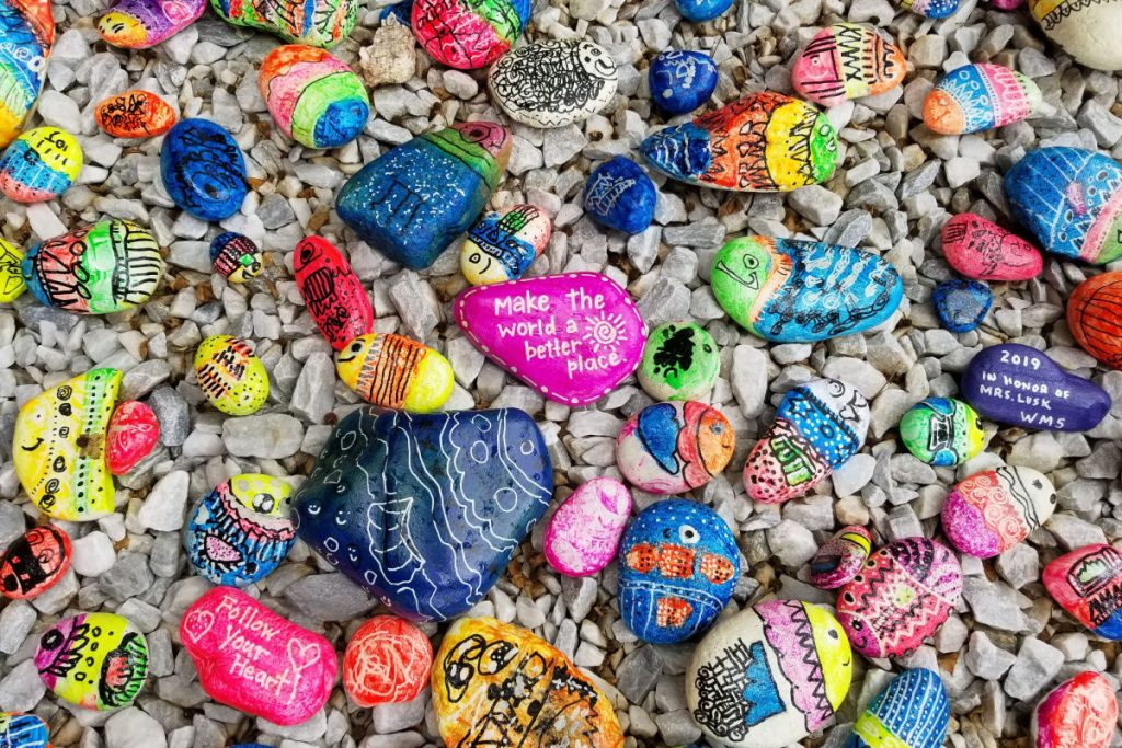 painted rocks with positive messages