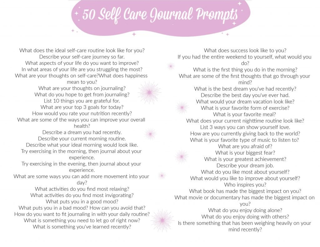 Self Care Journal Prompts PDF