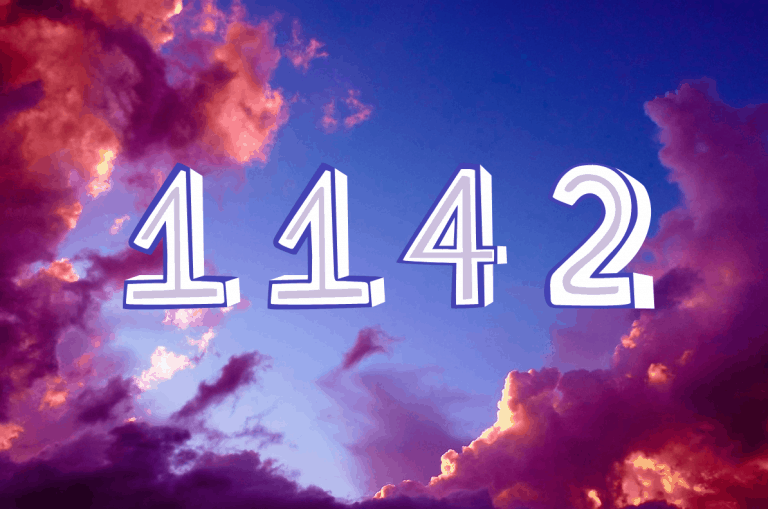 1142 meaning on purple clouds background