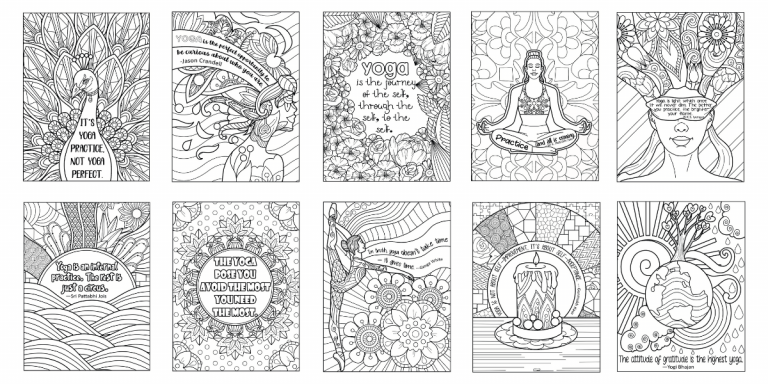 free yoga coloring pages for adults