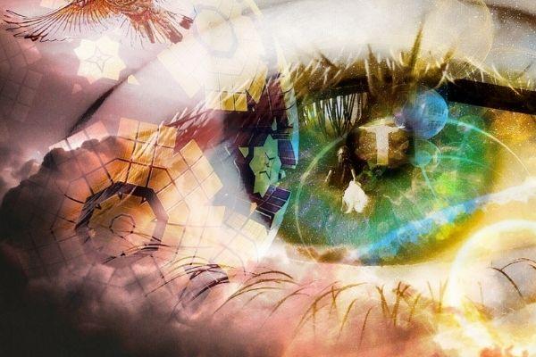 green eye with spiritual awakening