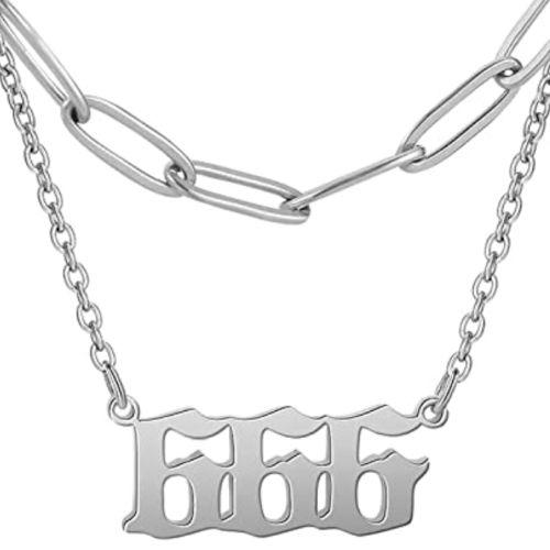 silver 666 necklace