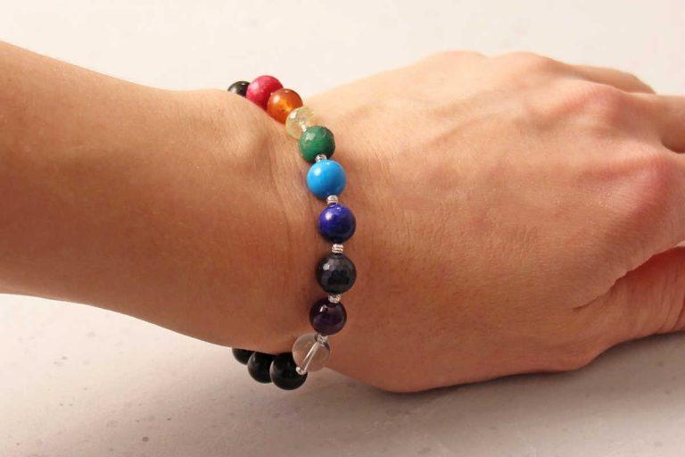 chakra bracelet on woman's wrist